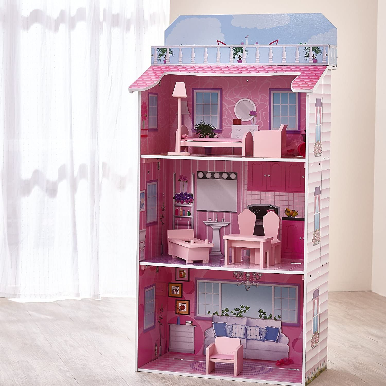 Teamson Kids 3 Level Glamour Mansion Fold In Wooden Dollhouse With 8 Pieces Wooden Furniture Amazon Co Uk Toys Games