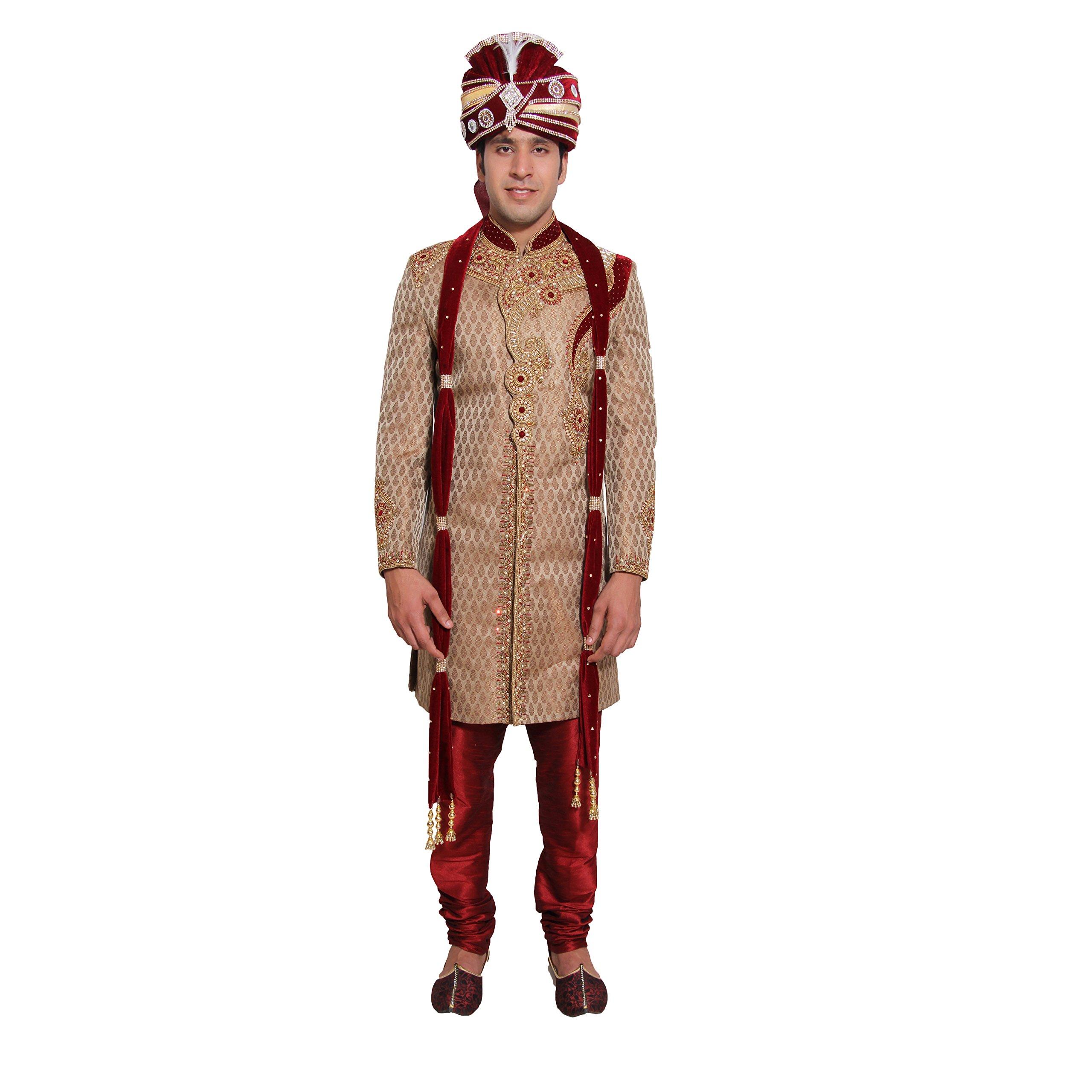 Indian Wedding Kurta Pajama Sherwani for Men Banarasi Silk Maroon Kurta Set by Favoroski (Image #1)