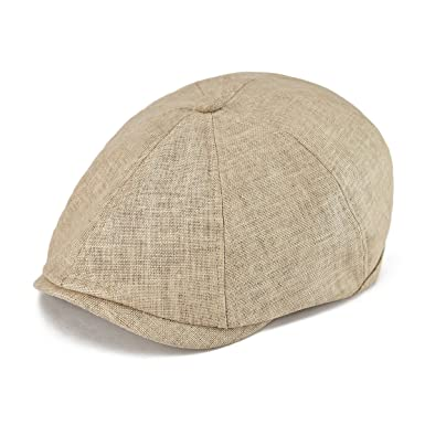 VOBOOM Men Newsboy Caps Breathable Linen Summer hat Ivy Cap Cabbie Flat Cap  MZ106 (Beige f1ca60f1c18