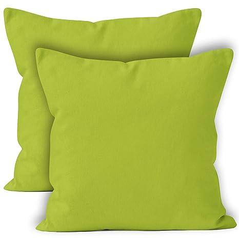 Encasa Homes Fundas de Cojines 2 Piezas (60x60 cm) - Verde - Lona de algodón teñida Forma sólida, Decorativa, Grande y Colorida, Lavable Funda ...