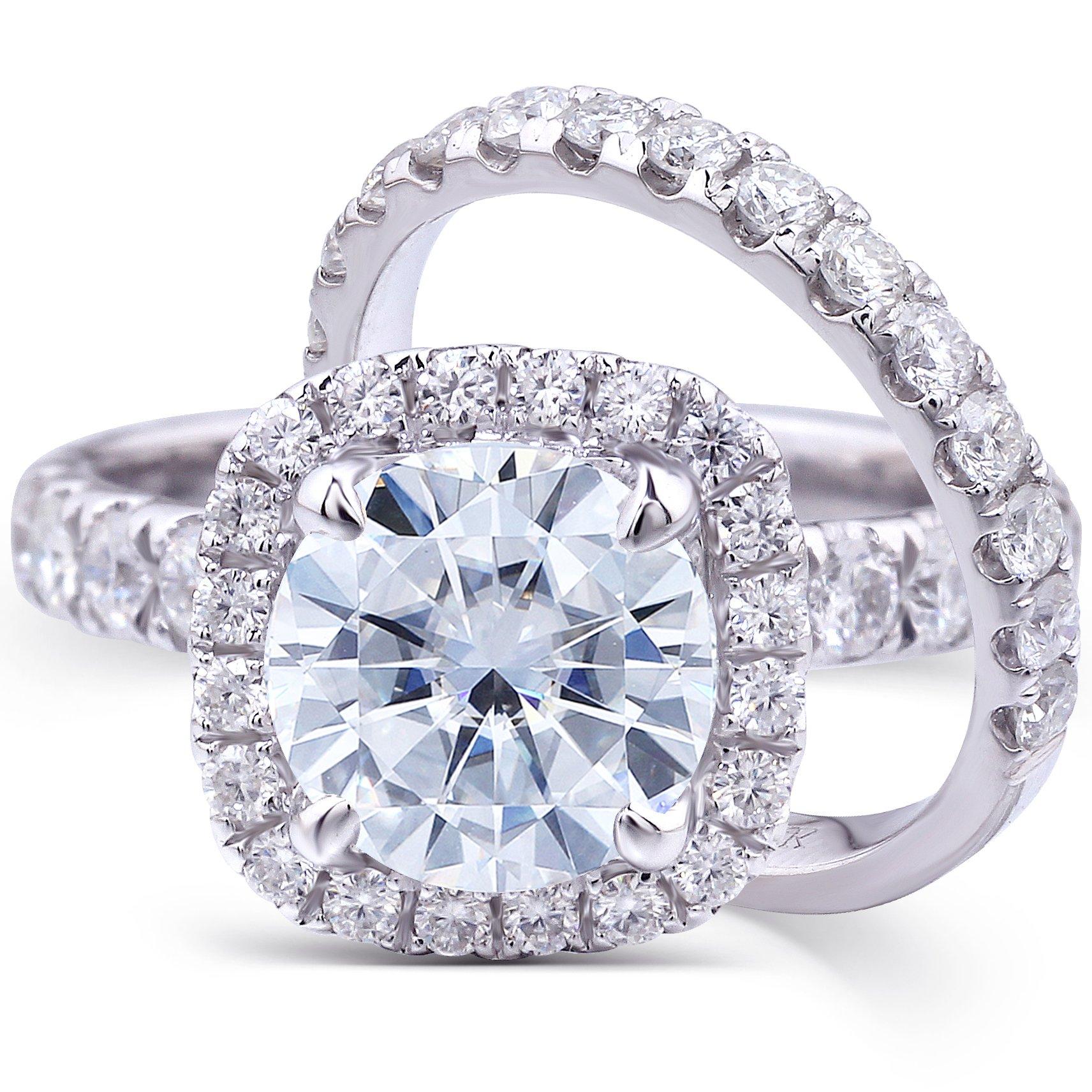 Round-cut Moissanite & Lab Diamond Accent Wedding Ring Set 3 Carat (ctw) in 14k White Gold (2 Piece Set) (7)