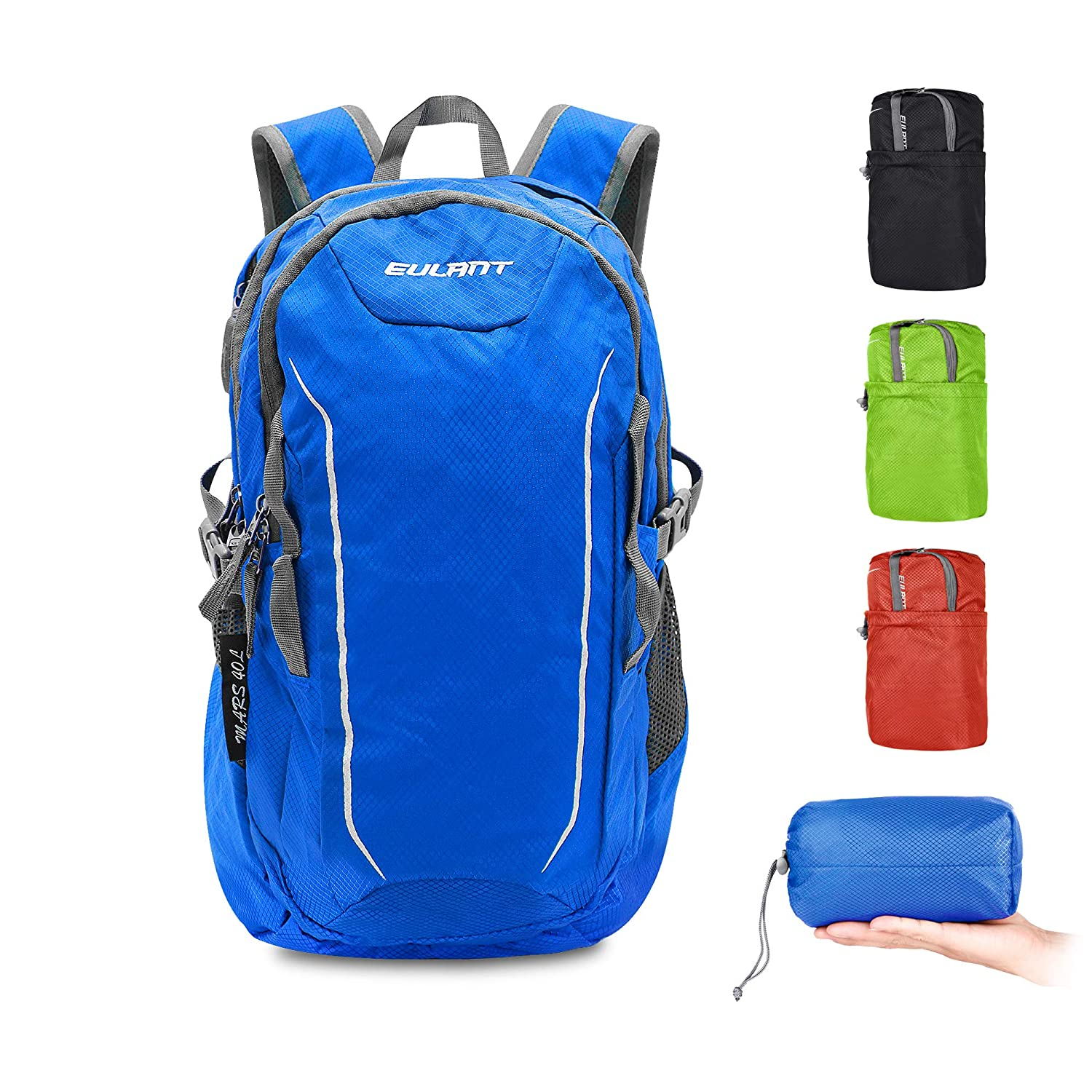 blueee EULANT Lightweight Packable Travel Hiking Backpack Daypack, Water Resistant Durable Camping Outdoor Foldable Backpacks for Women Men Kids