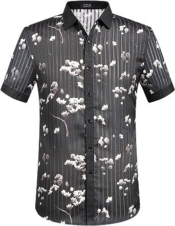SSLR Camisa Manga Corta de Rayas con Estampado Floral de ...