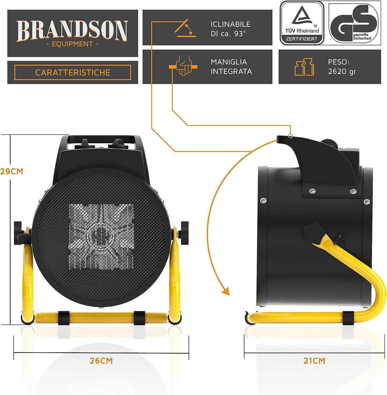 efficace maniglia e termostato Pale in metallo Brandson Generatore aria calda da 3000 Watt 2 livelli calore Resistente portatile Termoventilatore da cantiere ceramico
