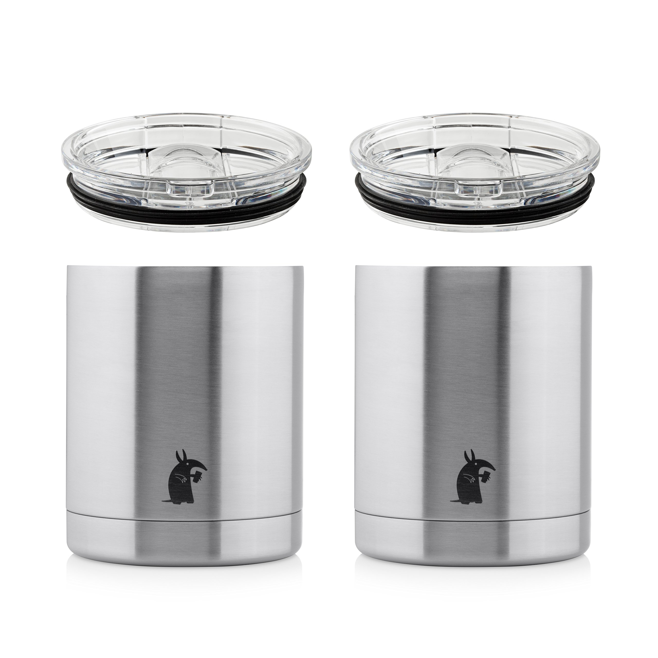 Thirsty Aardvark 10 oz Lowball Tumbler for Whiskey, Coffee and Cocktails, Stainless Steel Double Wall Vacuum Insulated Cup with Lid, 2 Pack (Silver)