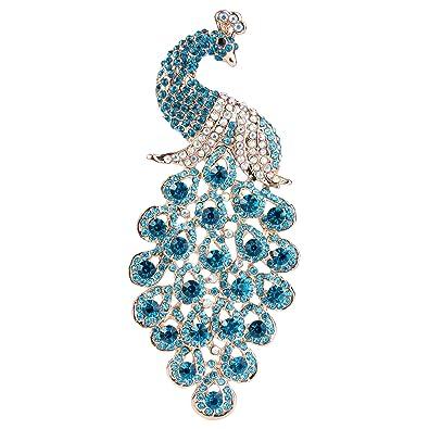 TENYE Austrian Crystal Elegant Animal Peacock Plume Pendant Brooch Gold-Tone bUNk6AHpla