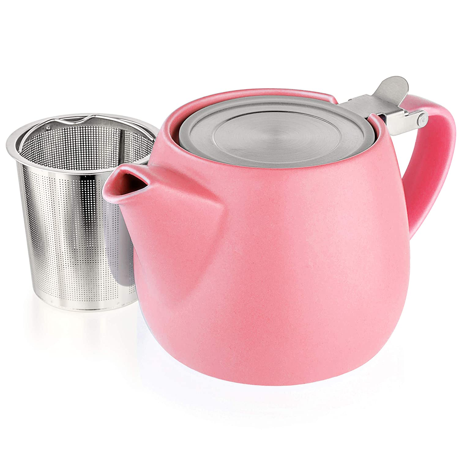 Tealyra - Pluto Porcelain Small Teapot Pink - 18.2-ounce (1-2 cups) - Matte Finish - Stainless Steel Lid and Extra-Fine Infuser To Brew Loose Leaf Tea - 540ml