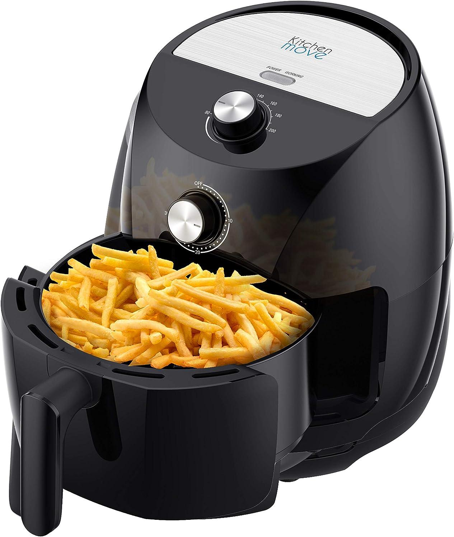 Kitchen Move eléctrico sin aceites, freidora de aire caliente, 3,5 l, Tornado 1400 W, rápido con un toque con consejo de cocina, 3,5 litros, negro: Amazon.es: Hogar