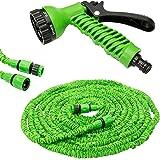 New FHS 100 FT Expandable Flexible Garden Hose Solid Brass Hose Fittings & Spray Gun-Green
