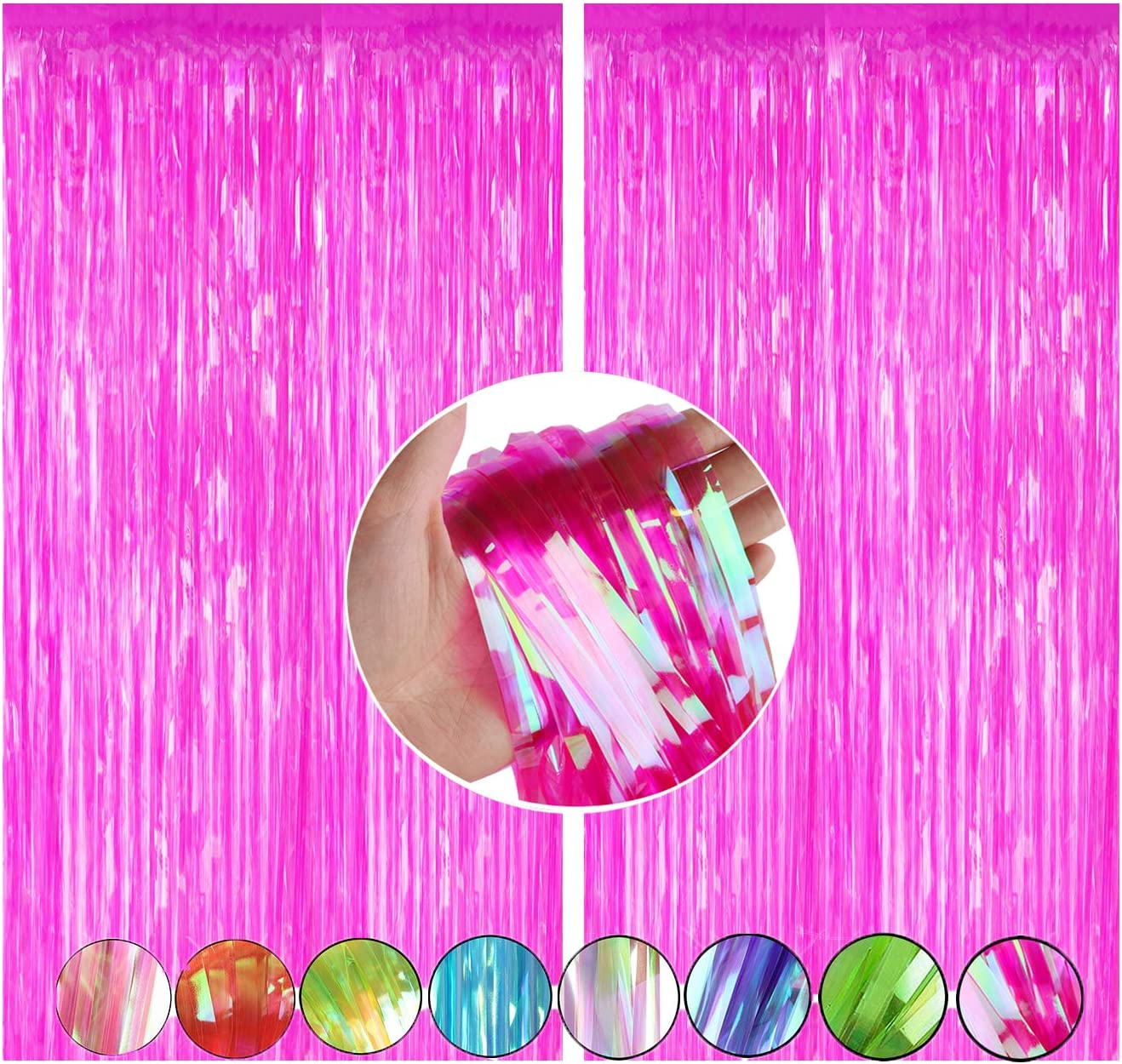 2 Packs 3.2ft x 8.3ft Shimmer Hot Pink Metallic Tinsel Curtain Shiny Foil Fringe Curtain Photo Backdrop for Girls Birthday Party Baby Shower Graduation Spa Make Up Party Door Windows Wall Decoration