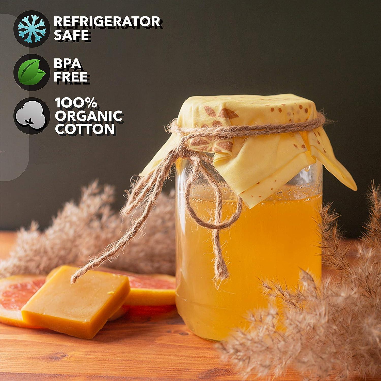 GREENZLA wiederverwendbar bienenwachstuch wachst/ücher f/ür Lebensmittel 3er Pack 1 mittleren und 1 gro/ßen Beeswax Wrap Bio Baumwollwickel- Set mit 1 kleinen mit Bonus Bienenwachs Nachf/üllbar