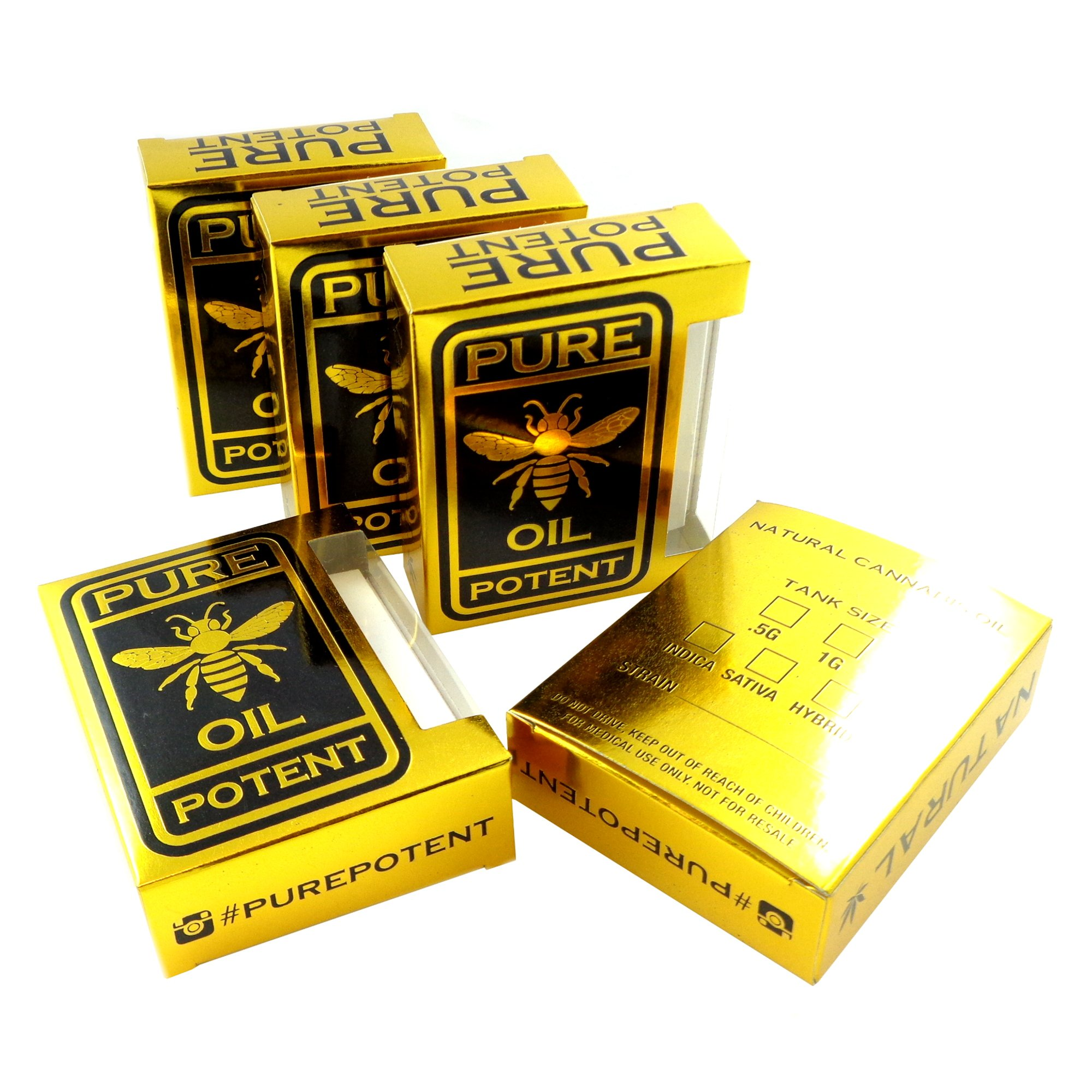 250 Solid Gold Pure Potent Oil Empty Display Concentrate Packaging Boxes VB-005