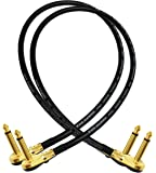 2 Units - Van Damme Pro Grade Classic XKE - 2 Foot (60 cm) – Premium, Ultra-Flexible Multi -Shielded Guitar Bass Effects Instrument, Patch Cable - with Premium Gold Plated, Low-Profile, Right Angled Pancake type TS (6.35mm) Connectors
