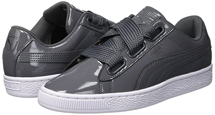 Amazon.com | PUMA Womens Basket Heart Patent WNs Low-Top Sneakers, Iron Gate-Iron Gate, 5.5 UK | Fashion Sneakers