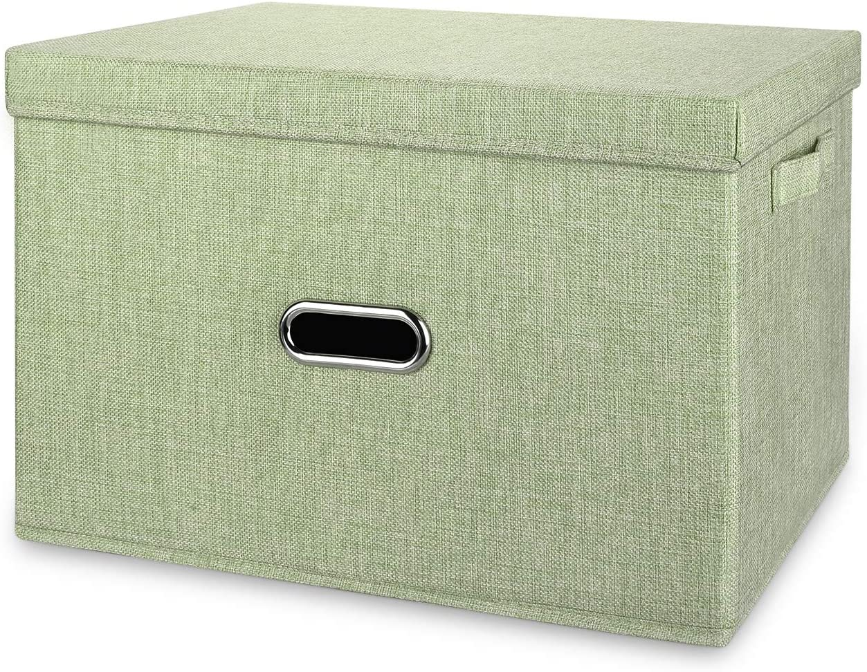 Valease Large Linen Collapsible Storage Bins with Removable Lids and Handles, Washable Storage Box Containers Baskets Cube with Cover for Bedroom,Closet,Office,Living Room,Nursery (Green, Large)