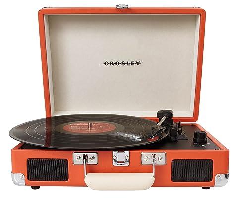 Crosley Cruiser - Tocadiscos de vinilo portátil (3 velocidades, altavoces estéreo integrados, con enchufe UK) diseño maletín, naranja