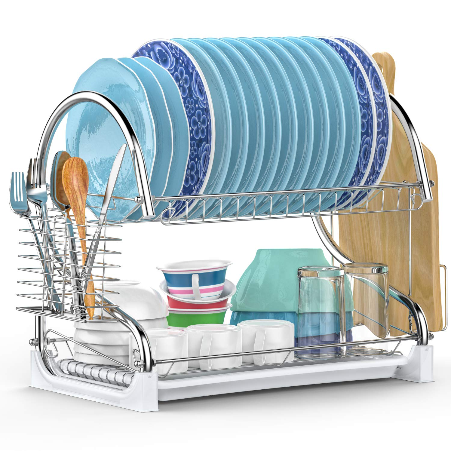 Dish Drying Rack, iSPECLE Upgrade 2 Tier Dish Rack with Utensil Holder, Cutting Board Holder and Kitchen Dish Drainer for Kitchen Counter Top, Plated Chrome Dish Dryer Rack Silver 17.0x9.7x14.6inch