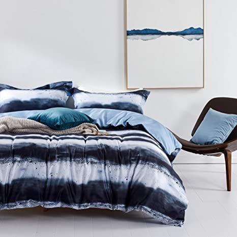 Amazon Com Mildly Duvet Cover Set 100 Egyption Cotton Ultra Soft Zipper Closure Corner Ties 1 Comforter Cover 2 Pillow Shams Navy Blue White Watercolor Printed Queen Size Kitchen Dining