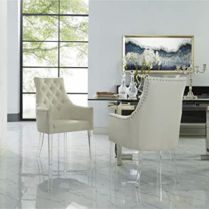 Amazoncom Linen Acrylic Leg Dining Chair Set Of 2 Cream White