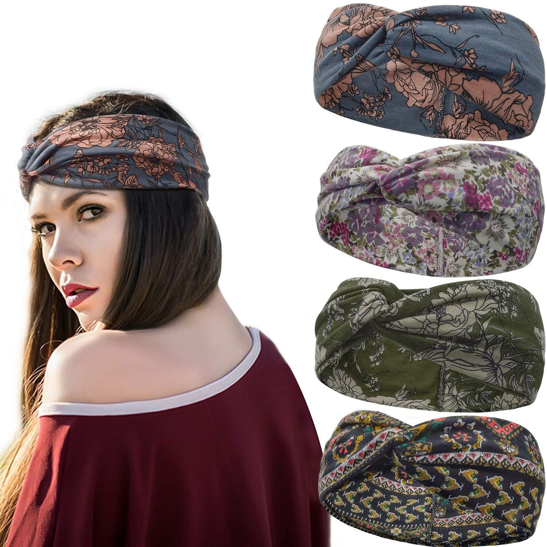 Stynice Haarband Stirnband Damen Boho Blume Gedruckt Kopfband Knoten Verdrehtes Breites Dehnbares Stirnb/änder 4 St/ück