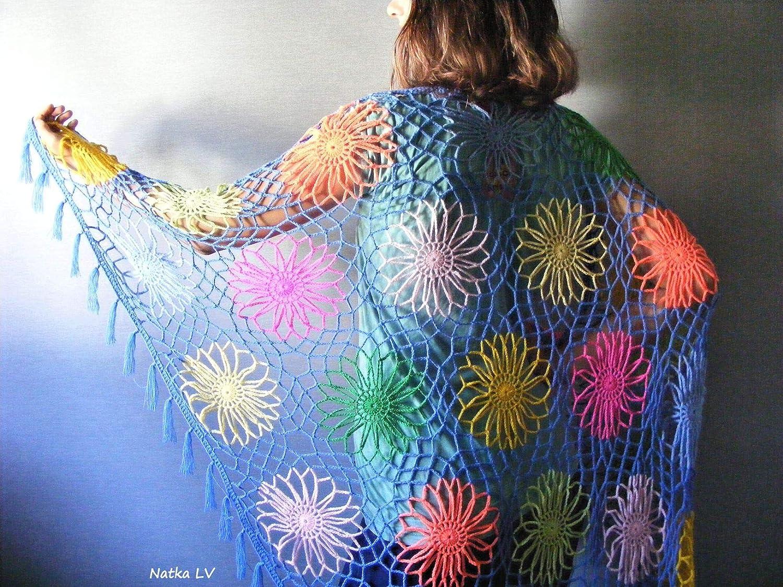 Amazon Crochet Shawl Womens Summer Shawl Flower Motif