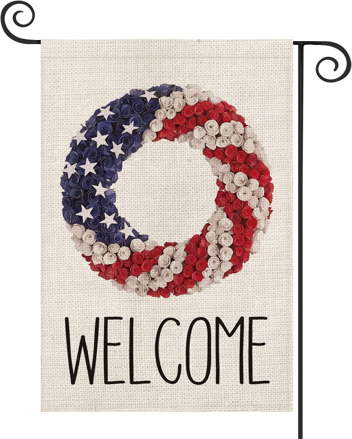 AVOIN Welcome Patriotic Strip and Star Wreath Garden Flag Double Sided, 4th of July Memorial Day Independence Day Yard Outdoor Decoration 12.5 x 18 Inch