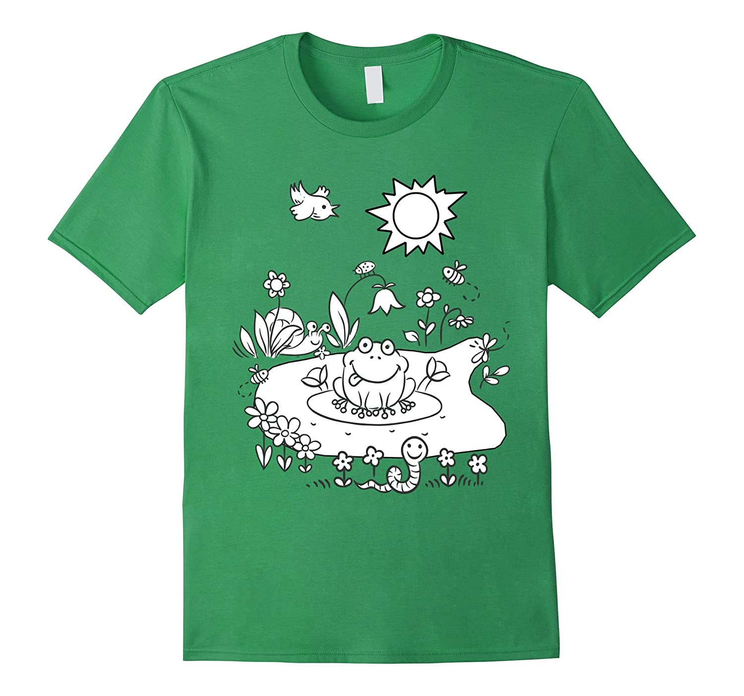 Color Me Happy Frog Pond Life Coloring DIY T Shirt TH