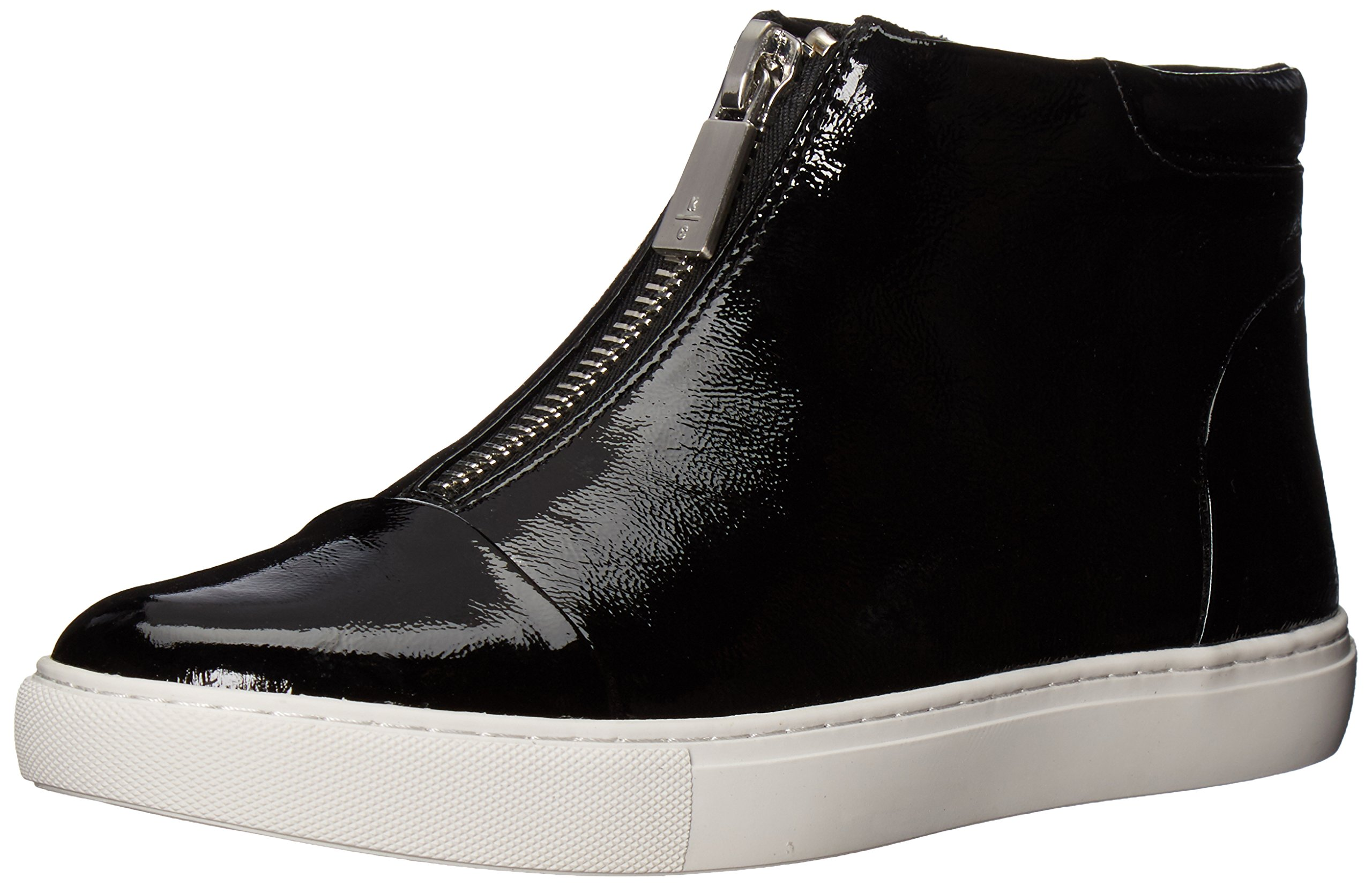 Kenneth Cole New York Women's Kayla High Top Front Zip Patent Fashion Sneaker, Black, 7 M US