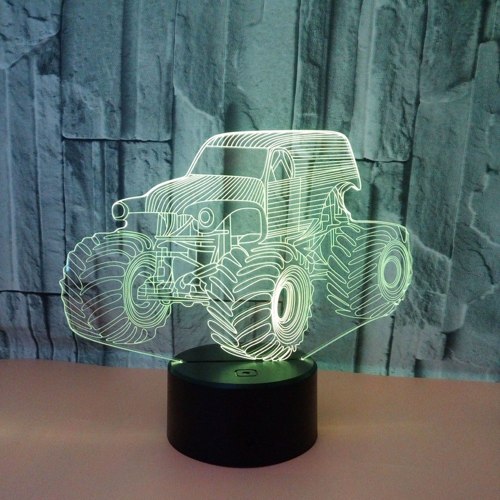 WHLXCQ Pequeña Luz De Noche Tractor Usb Lampara Colorida Touch Touch Touch Switch 3D Ilusion Optica Lampara De Escritorio Decoracion Regalo De Navidad Environmental Friendly Desk Lamp 8e8862