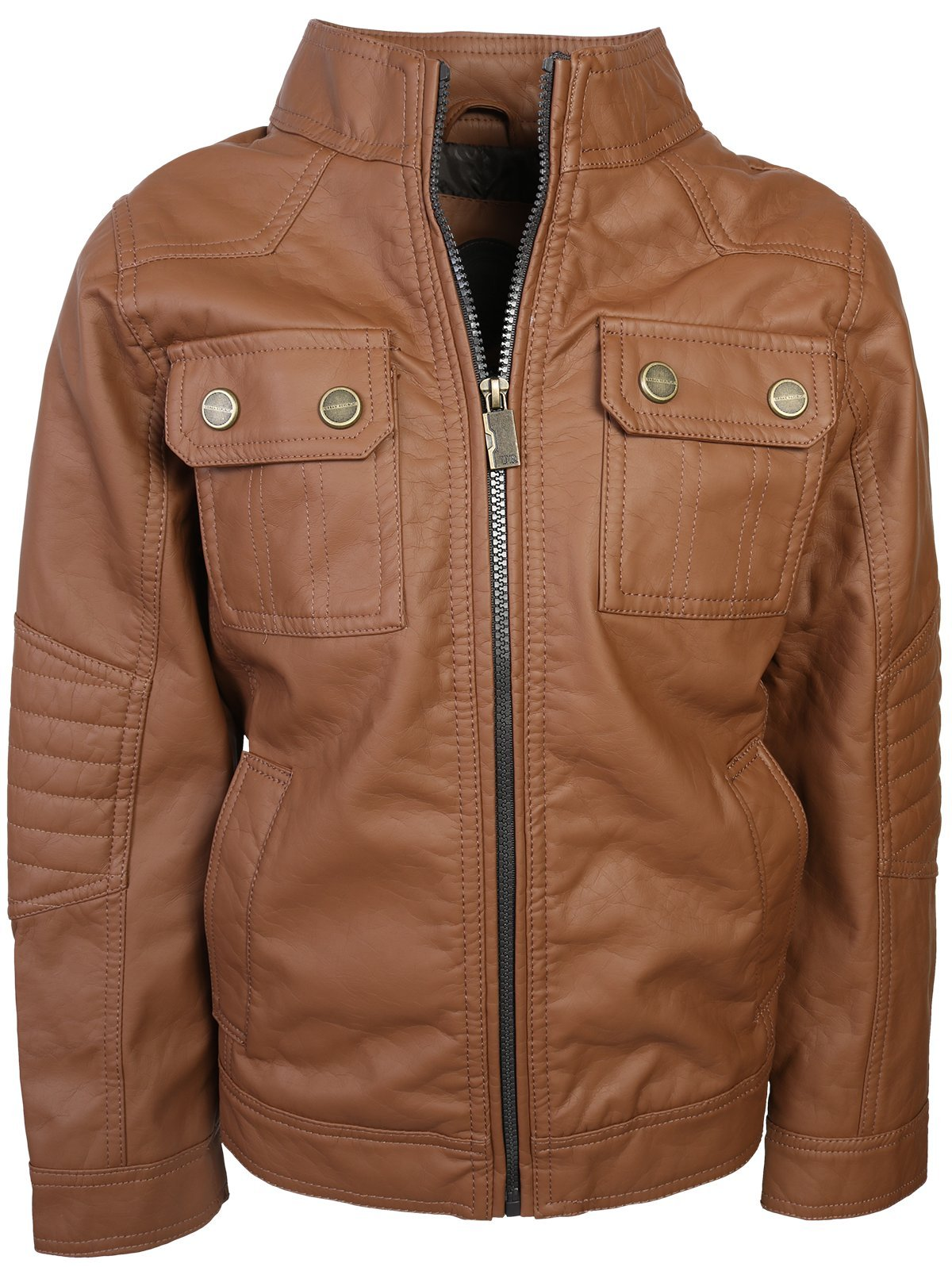 Urban Republic Boy's Faux Leather Officer Jacket, Cognac, Size 10/12'