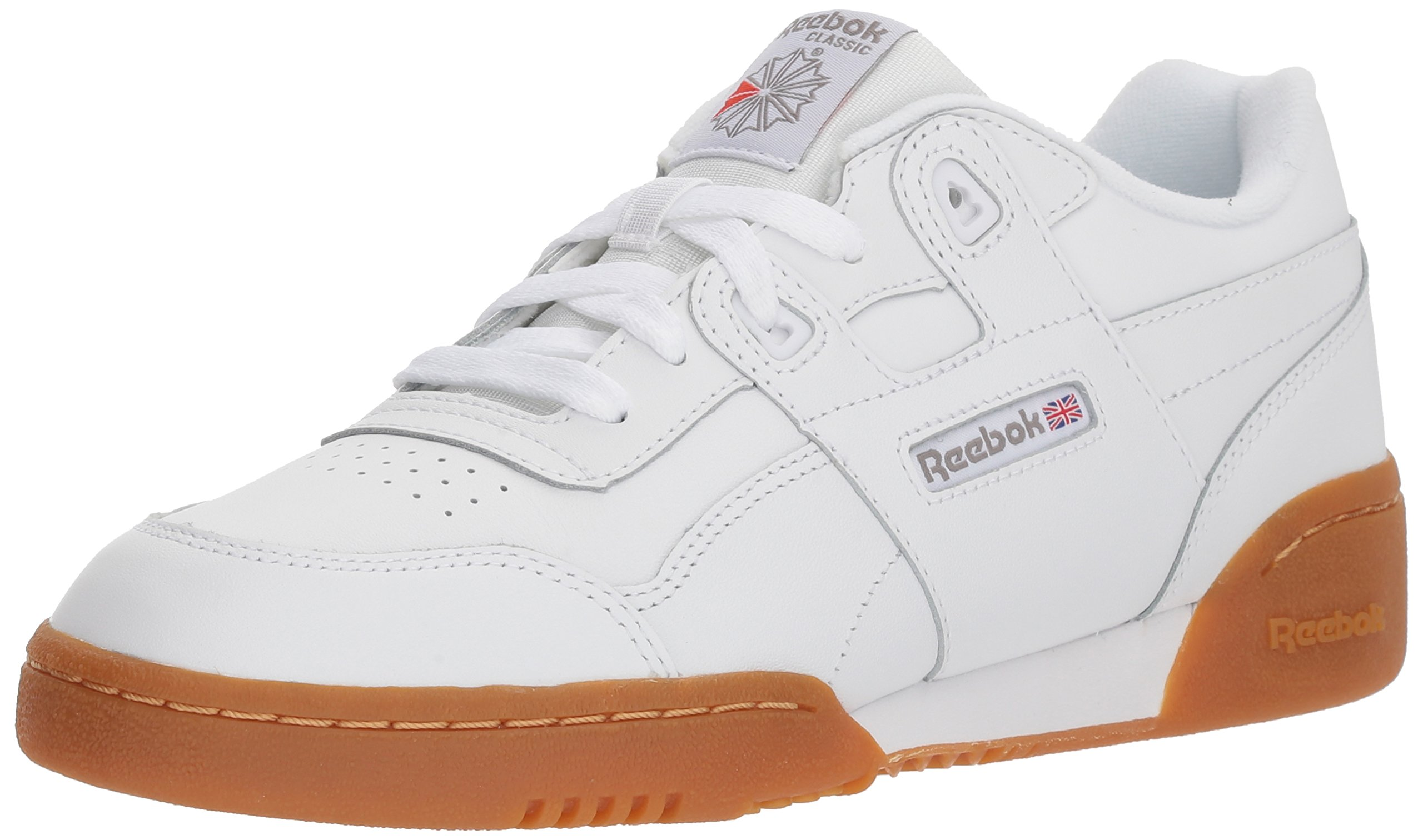 Reebok Unisex-Kids Workout Plus Sneaker, White/Carbon/Classic Red, 5.5 M US Big Kid