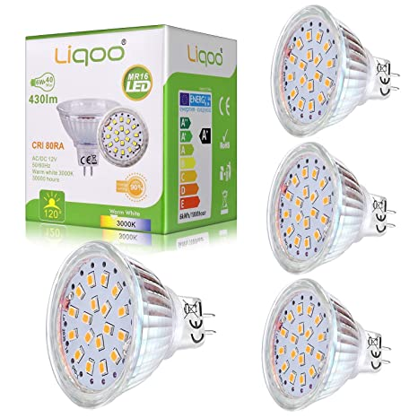 Liqoo® 4x 6w Mini Bombilla LED MR16 GU5.3 12V Blanco Cálido 3000K 430Lm