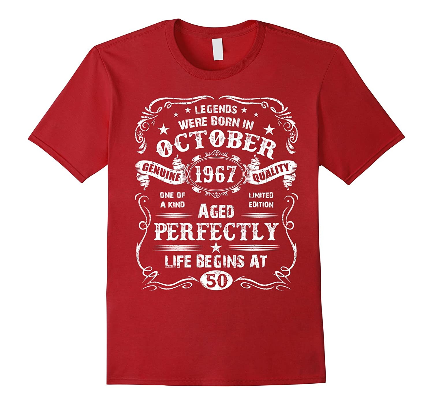 Mens Legend October 1967 Vintage Gift Ideas 50th Birthday T Shirt ANZ
