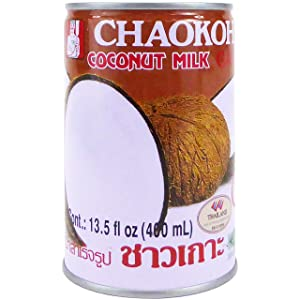 Chaokoh Coconut Milk 24 Pack - Creamy Non Dairy Milk, No Preservatives or Artificial Flavors, Canned Coconut Milk (13.5 Oz per Can)