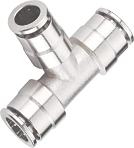 "Utah Pneumatic Pack of 5 Nickel-Plated Brass Push to Connect Air line Fittings Tee 1/4""Od Union Connect Air Fittings Quick Connect Push Lock Fittings Air Bag Fittings Pneumatic Fittings"