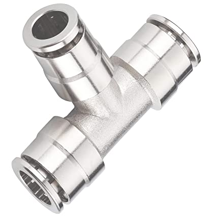 Utah Pneumatic Pack of 5 Nickel-Plated Brass Push to Connect Air Fittings  Tee 1/4