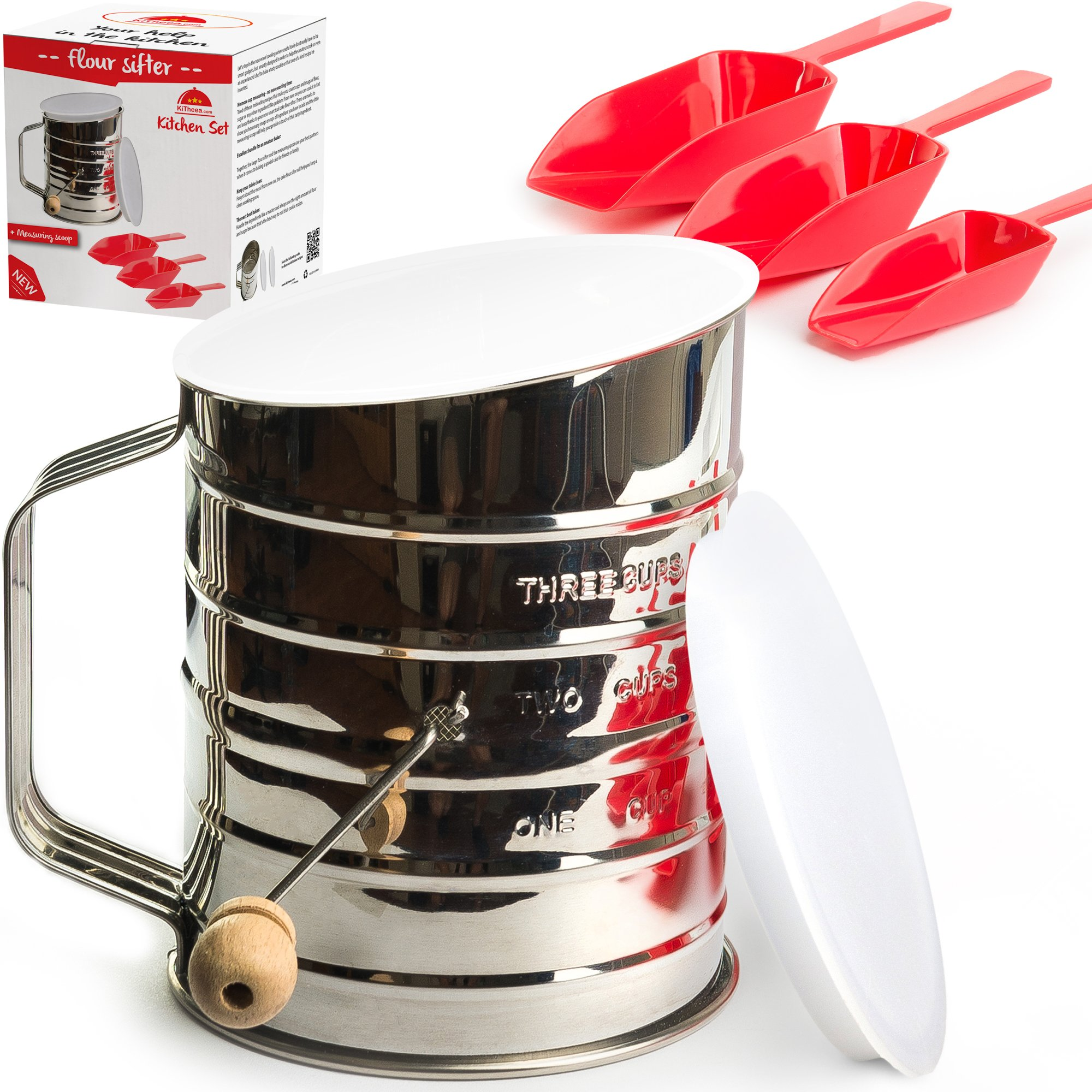 Kitheea Flour Sifter 3 Cup Stainless Steel - Perfect Sifter for Baking with Super Fine Almond Flour - Powdered Sugar Duster Sifter - Lid and Bottom Cover - Ebook Bonus by KiTheea