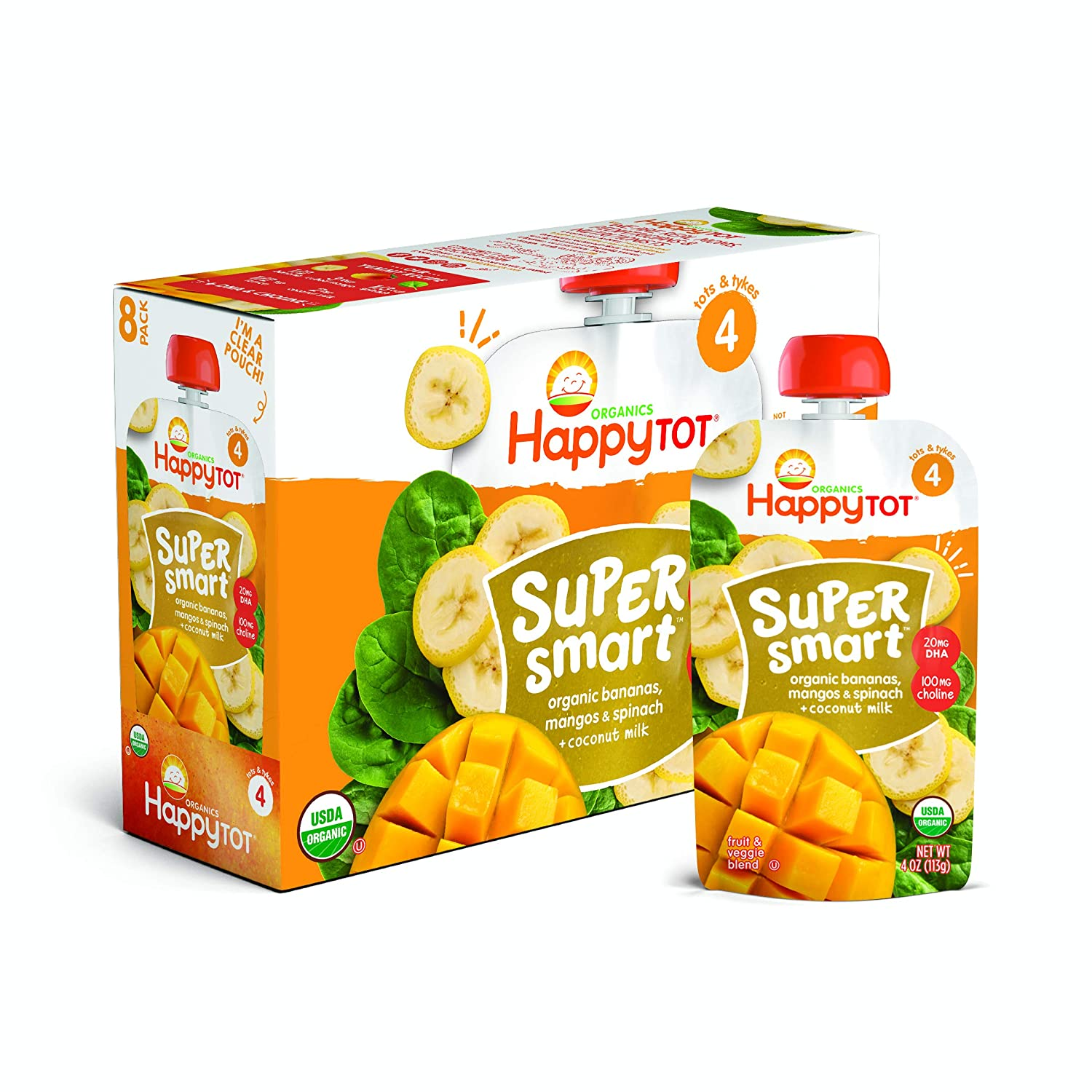 Happy Tot Organic Stage 4 Super Smart Organic Toddler Food Bananas/Mangos/Spinach Plus Coconut, 4 Ounce Pouch (Pack of 8) (Packaging May Vary)