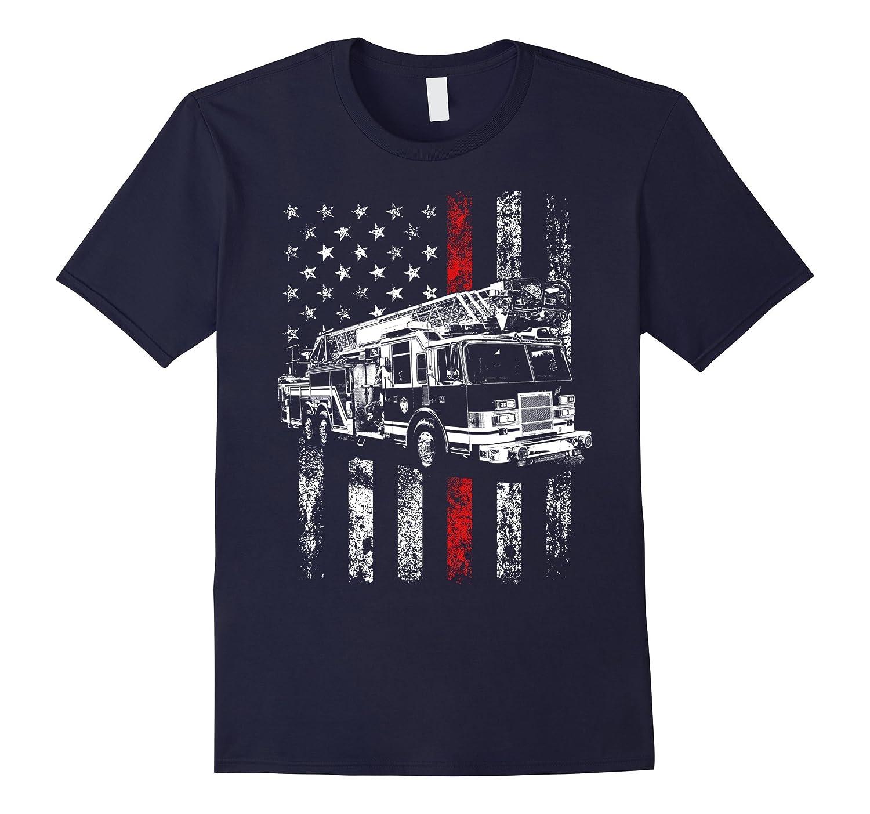 Fireman American Flag Shirt Thin Red Line Firefighter Shirt-BN