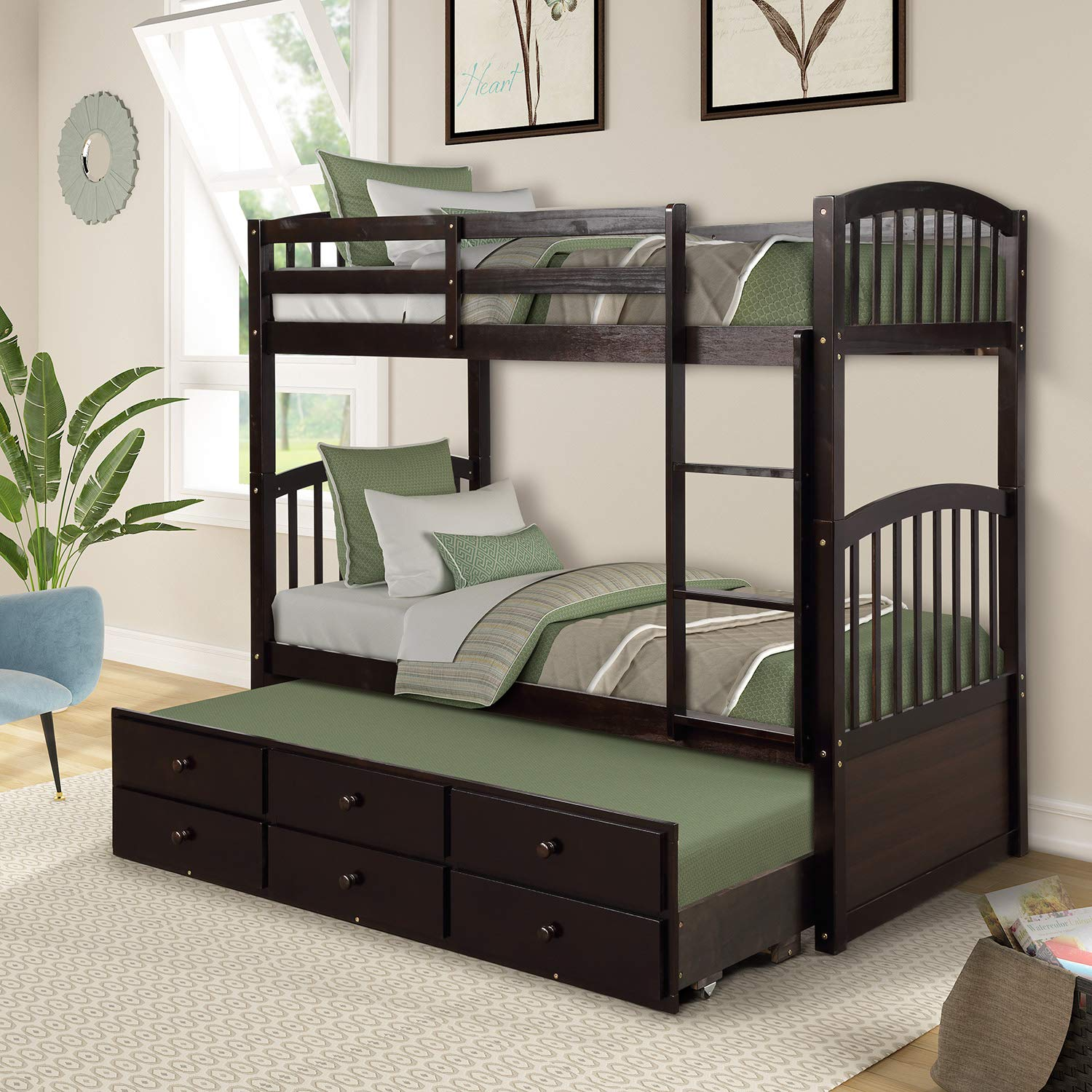 Twin Bunk Beds, Rockjame Twin Over Twin Solid Wood Bunk Bed Space Saving Design Sleeping Bedroom Furniture with Twin Trundle Bed, Ladder, Safety Rail and 3 Drawers for Boys, Girls and Kids Espresso