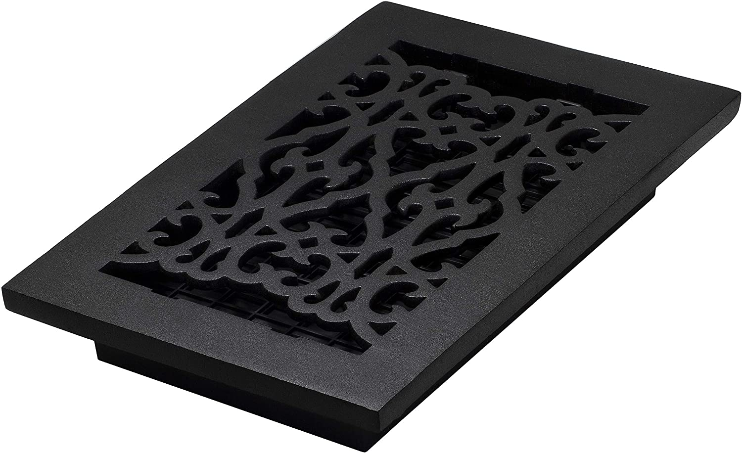 Decor Grates AC610-BLK Victorian Floor Register, 6 x 10, Cast Iron Black