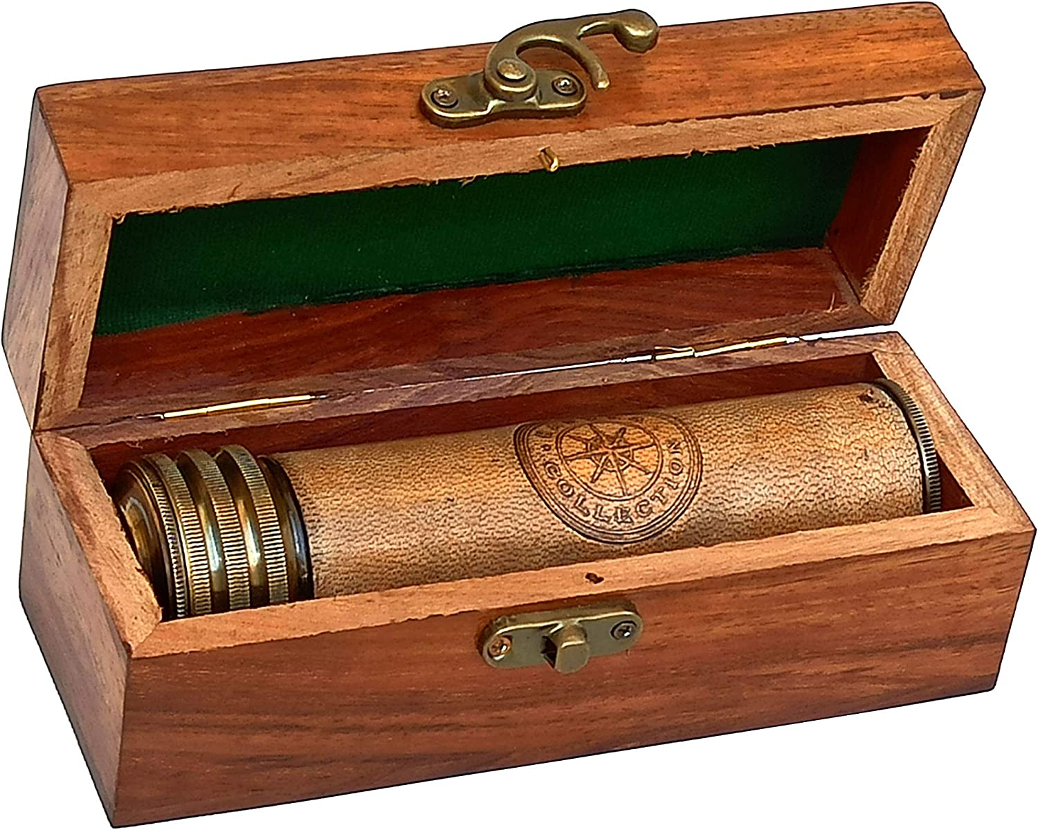 Hanzla Collection Leather Stiched Antique Brass Kaleidoscope Maritime Nautical Kids Gift with Wooden Box