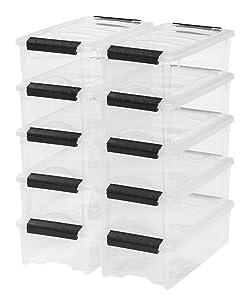 IRIS USA, Inc. TB-35 Stackable Clear Storage Box, 10 Pack 5 Quart