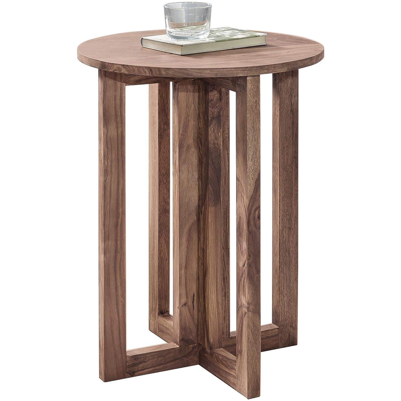 WOHNLING Beistelltisch Massiv-Holz Akazie Design Wohnzimmer-Tisch 45 x 45 cm rund Couchtisch Natur-Holz dunkel-braun Nachttisch Landhaus-Stil Nachtkommode Echtholz Anstelltisch Telefontisch 60 cm hoch