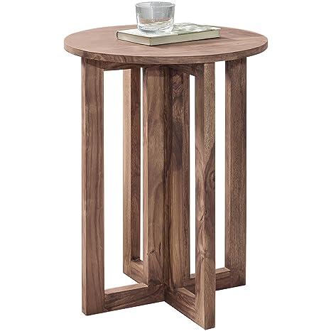 Wohnling Beistelltisch Massiv Holz Akazie Design Wohnzimmer Tisch 45 X 45 Cm Rund Couchtisch Natur Holz Dunkel Braun Nachttisch Landhaus Stil