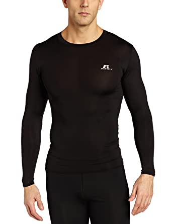 11e485494 Russell Athletic Men's Long Sleeve Compression T-Shirt, Black, Small