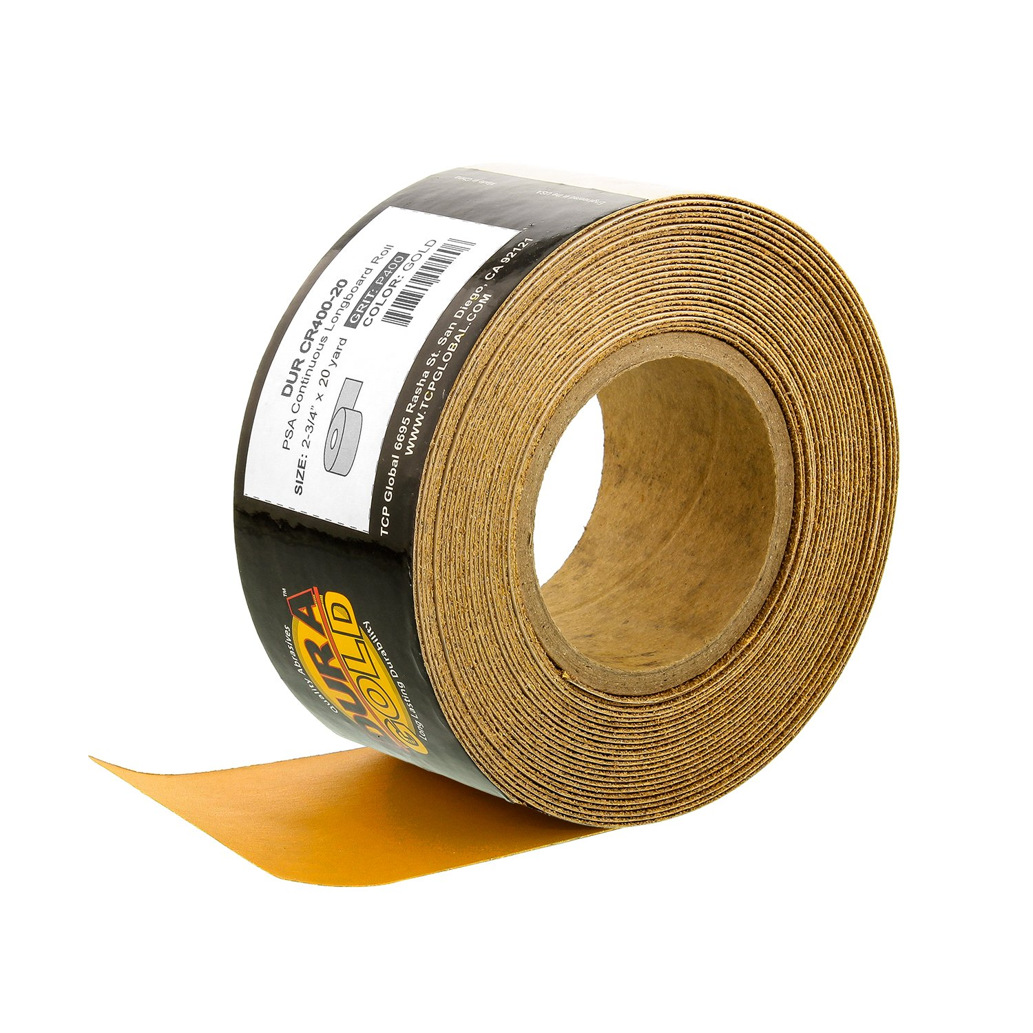 Dura-Gold - Premium - 400 Grit Gold - Longboard Continuous Roll 20 Yards Long by 2-3/4'' Wide PSA Self Adhesive Stickyback Longboard Sandpaper for Automotive and Woodworking