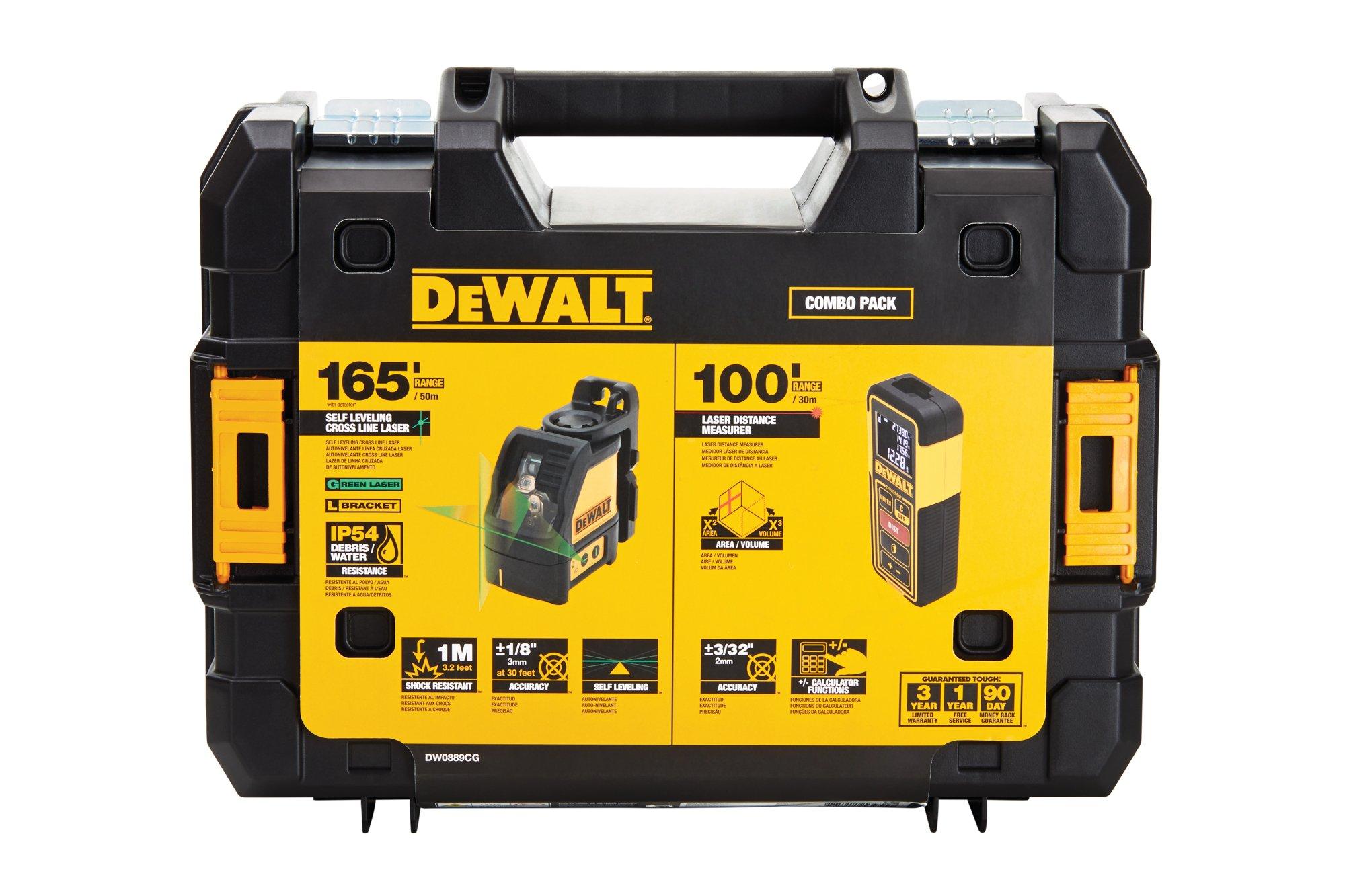DEWALT DW0889CG TSTAK Laser Kit: DW088CG 12V Cross Line + DW099E 99ft Laser Distance Measurer by DEWALT