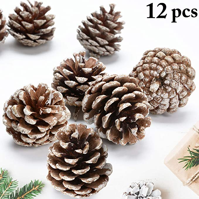 Justdolife 12pcs Christmas Pine Cone Decorative Frosted Pinecone Ornament Christmas Supply Home Kitchen Amazon Com
