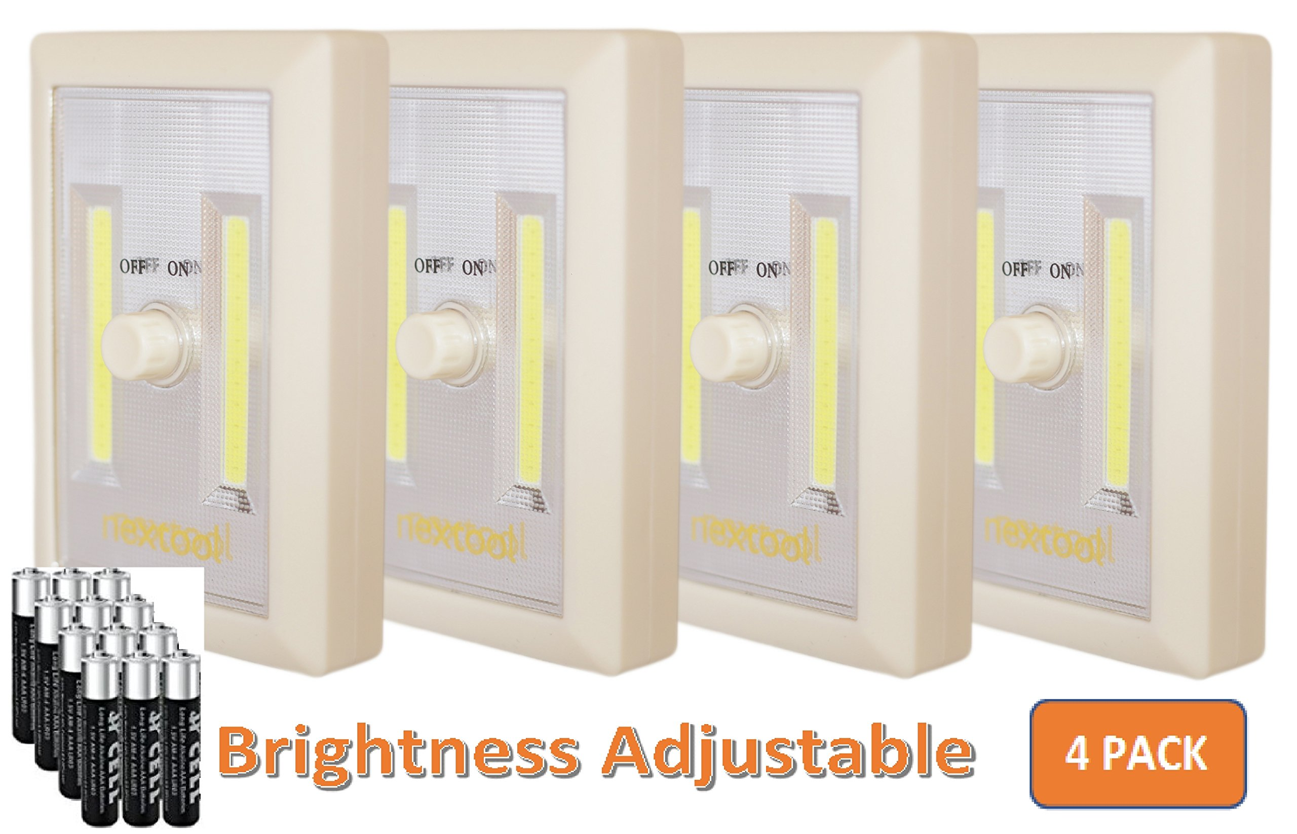 [New Version] 4-Pack Dimmable Battery Included COB LED Battery Closet Light, Adjustable Brightness, Tap Light, Battery Operated LED Night Light, Battery & Adhesive Strip (Included), Cream